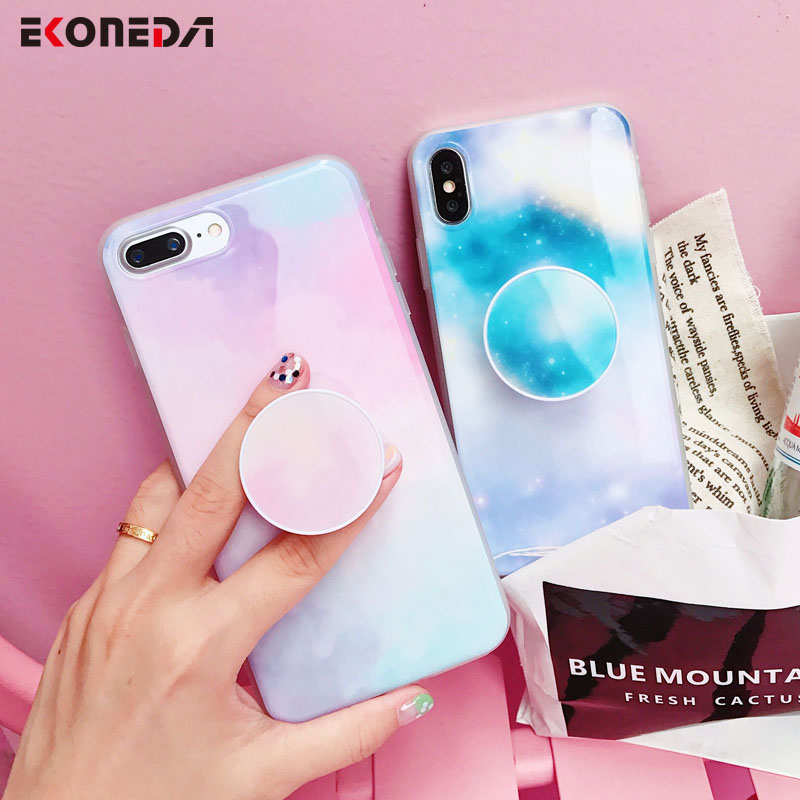 watch 7d43d 1de82 US $4.08 |EKONEDA Soft Silicone Back Cover For iPhone X Phone Holder Case  Rainbow Ingradient Sky Pattern For iPhone 6 6S 8 7 Plus-in Fitted Cases  from ...