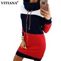 VITIANA 2017 Autumn Casual Sweatshirts Dress Women Long Sleeve Black Red Patchwork Sweater Mini Hoodies Dresses