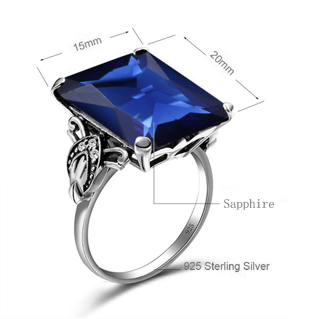Vintage Genuine 925 Sterling Silver Fine Jewelry Lab Sapphire Stone Simple Pattern Big Rings for Women Fashion Bague Femme