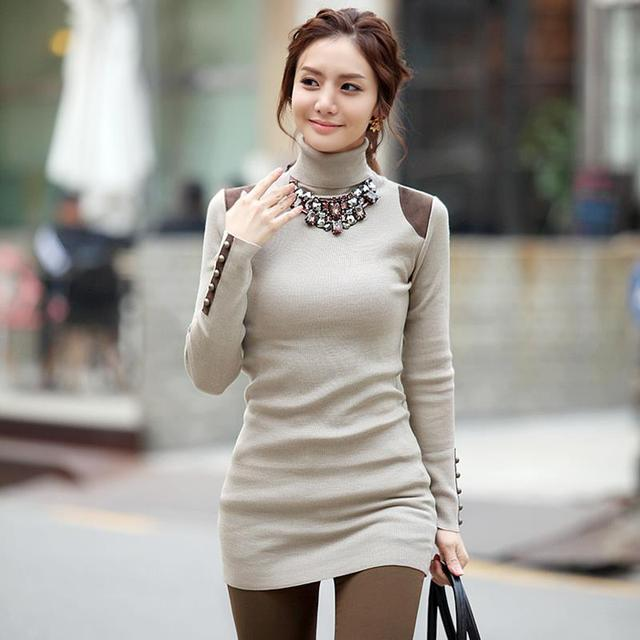 2016 Factory New Large Size Fat MM Wil Fashion High-end  Loose Shirt Collar Sweater Long Sweater Dress