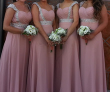 Elegant Pink Sweetheart Chiffon Bridesmaid Dress With Crystal Beaded Straps And Band 2016 New Design