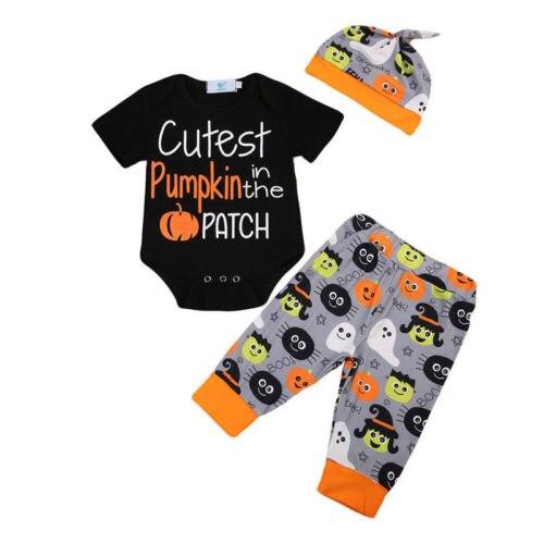Halloween 3 stücke Kleidung Neugeborenen baby Junge Mädchen Cutest Kürbis in die Patch Brief Romper + Hosen + Hüte Caps kürbis Festival Set