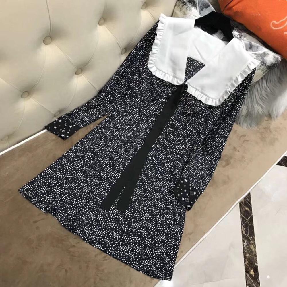 2019 star printed dress silk dress
