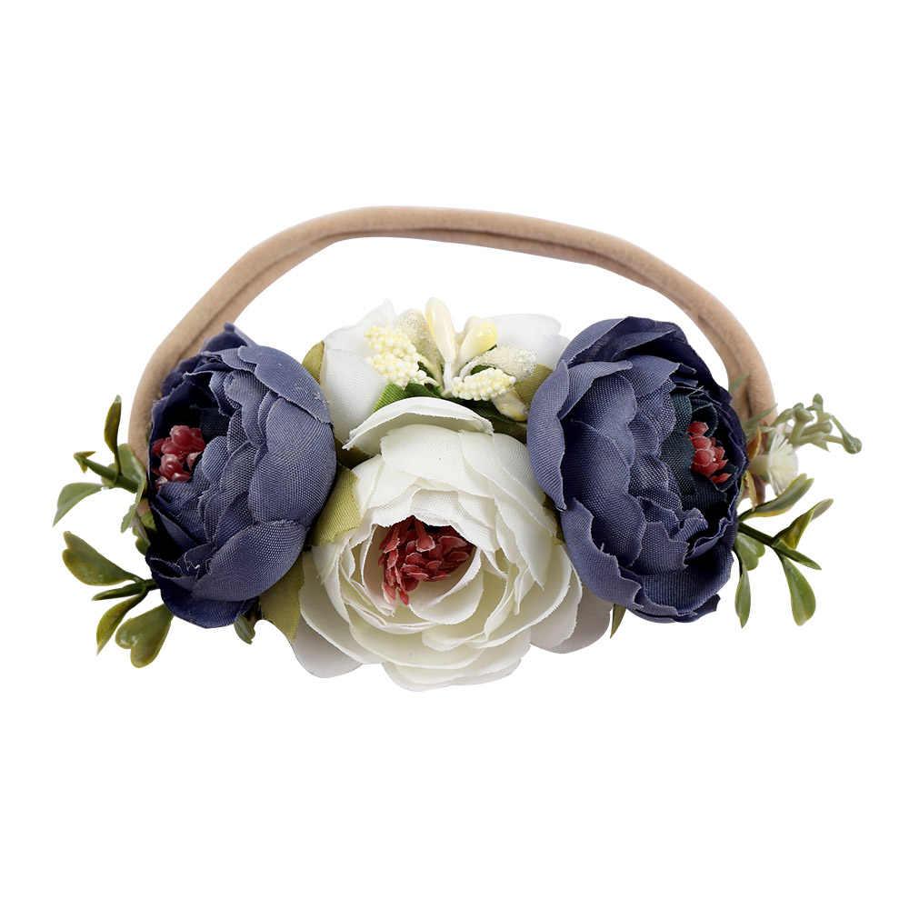 Искусственные цветы, нейлоновые повязки на голову для девочек, летняя пляжная повязка на голову, эластичные ленты, Цветочная повязка на голову, Детские аксессуары для волос