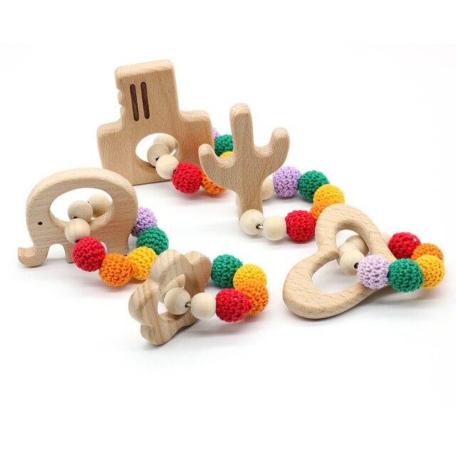 Baby Wooden Teether Crochet Amigurumi NEW Handmade Nursing Wooden Crochet Bead Teething Crochet Bead Knitted Bead With Bracelet