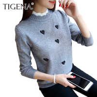 TIGENA 2019 Autumn Winter Knitted Turtleneck Pullover and Sweater Women Jumper Embroidery Cute Sweater Female Pull Fmme Yellow