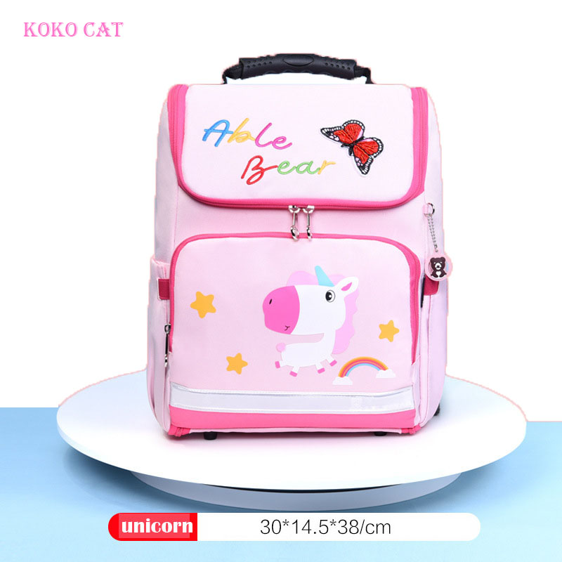 KOKOCAT Cartoon Unicorn School Bags for Girls Boys Student Kids Orthopedics Bagpack Children Satchel Enfant Flamingo