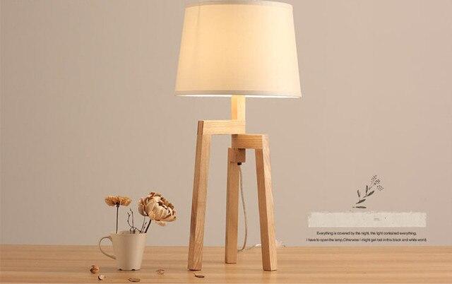 Moderne bureau lampen hout licht led licht doek lampenkap drie