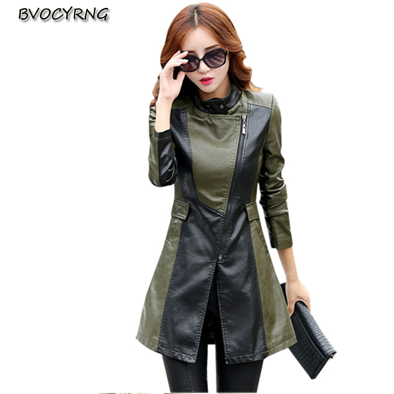 Europe Fashion Spring Autumn Big Yards Women   Leather   Coat Lapels Long Sleeve Splicing High-end Thickening The Warm Slim CoatQ495