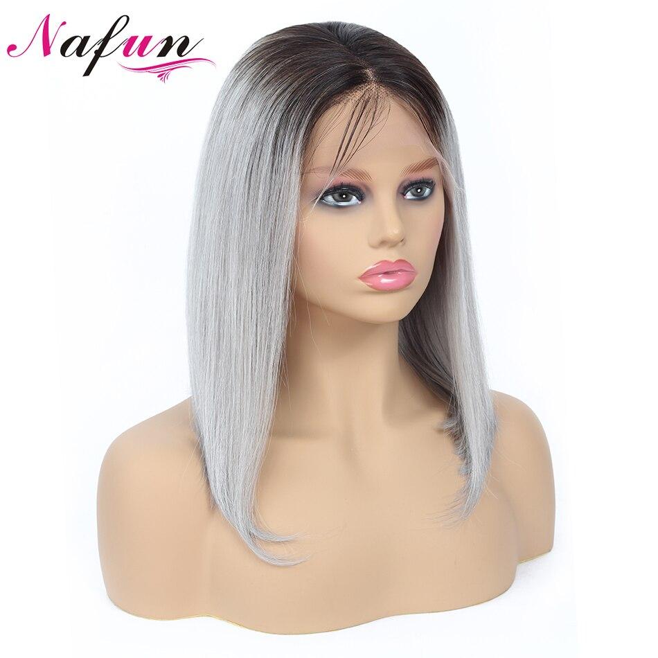 NAFUN 13x4 Short Lace Front Human Hair Wigs T1B Gray Human Hair Lace Front Closure Wig
