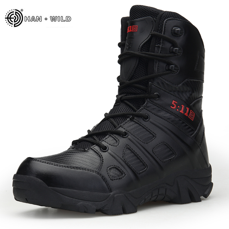 b376d0ed9e2 Men Tactical Military Boots Winter Leather Waterproof Desert Combat Army  Work Shoes Mens Ankle Boot Man
