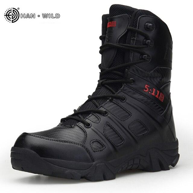 Erkekler Taktik Askeri Çizmeler Kış Deri Su Geçirmez Çöl Savaş Ordu Iş Ayakkabıları Erkek Ayak Bileği Boot Adam Artı Boyutu