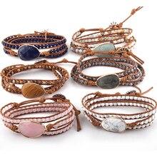 Модный браслет из бисера ювелирные изделия ручной работы длинные натуральные камни и каменная подвеска 3 браслет из переплетенных нитей Прямая
