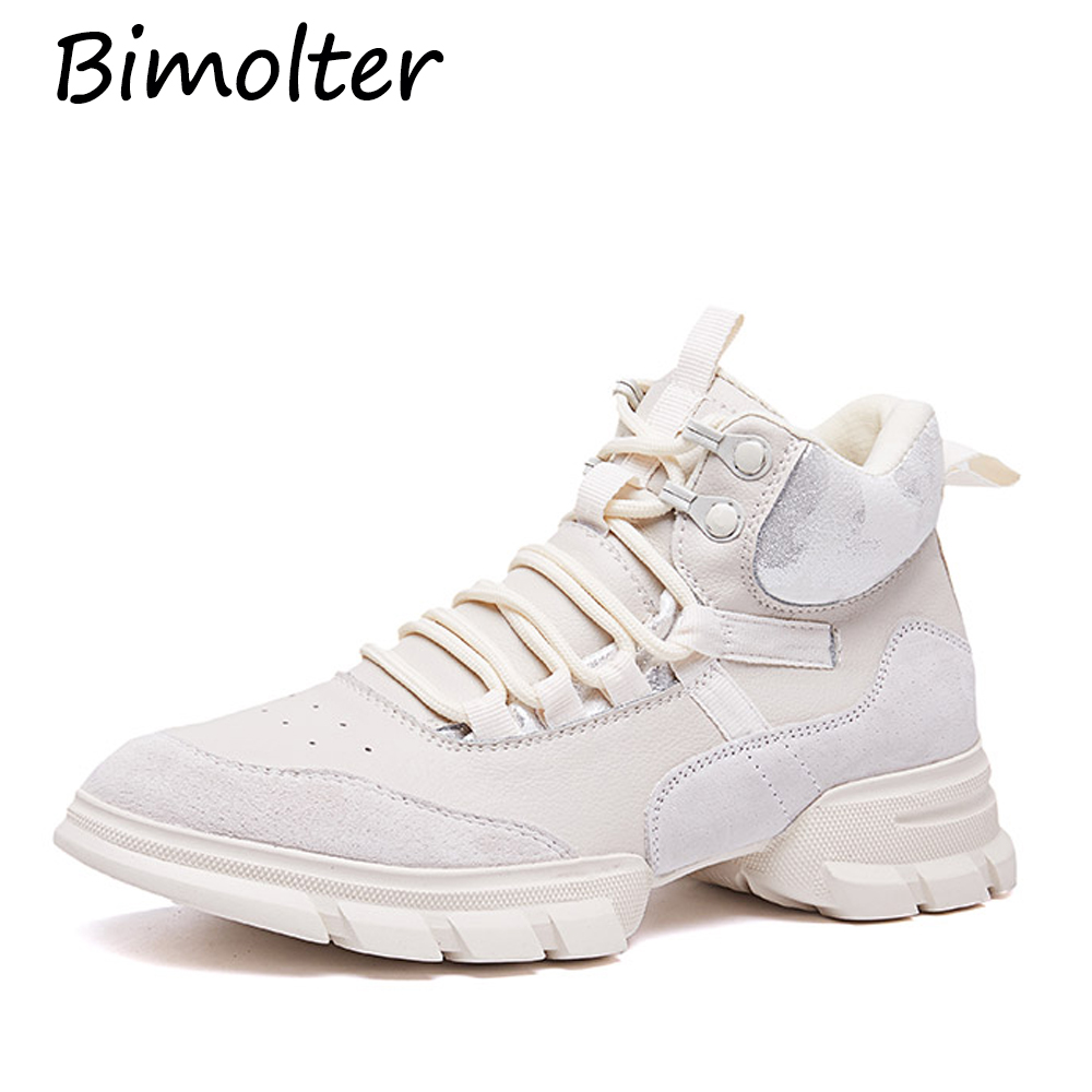 Bimolter Brand Fashion Women Platforms Genuine Leather Casual Shoes Woman Flats Ladies Lace-up Sport Sneakers NB080