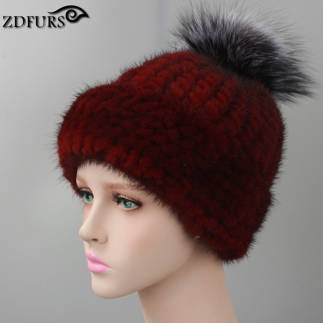 Sombreros de Invierno 2016 Hizo Punto la Gorrita Tejida de las mujeres Con piel  de Zorro aa3965af5a8