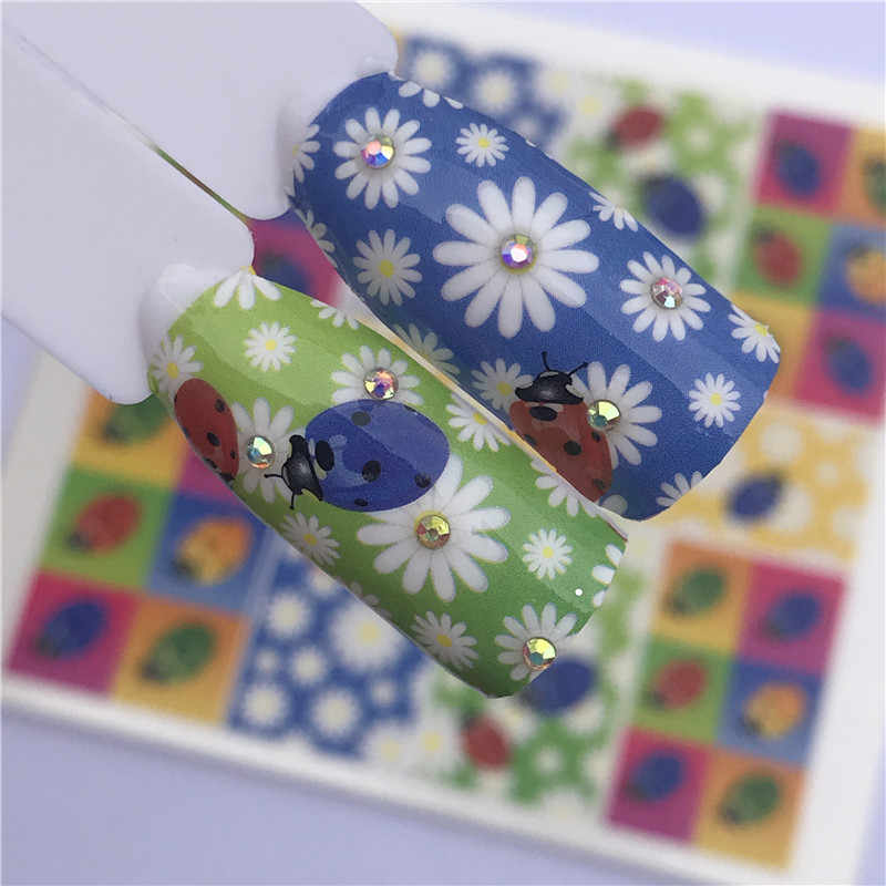 YWK 1 levhalar Nail Art çiçek/karikatür renkler krizantem su tasarım dövmeler tırnak Sticker çıkartmaları güzellik manikür araçları