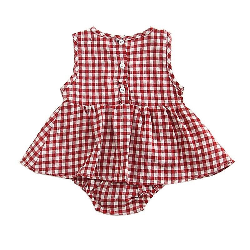 Newborn Baby Girls Summer Outfits Red/&Black Plaid Sleeveless Romper OneSize