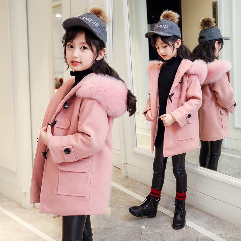 kids baby girl thick warm coat fur collar hooded winter jacket 2018 girls coats and jackets children with fur hood outerwear winter baby girl coats kids warm long thick hooded jacket for girls 2017 casual toddler girls clothes children outerwear