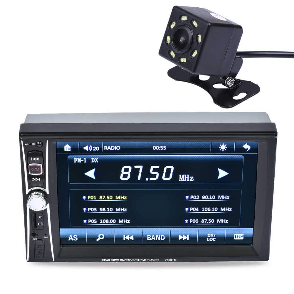 2DIN 6.5 HD 7 TFT HD Display In Dash Car TouchScreen Bluetooth Stereo MP3 MP5 Camera FM Tuner ABS and Metal 2 din car radio mp5 player universal 7 inch hd bt usb tf fm aux input multimedia radio entertainment with rear view camera