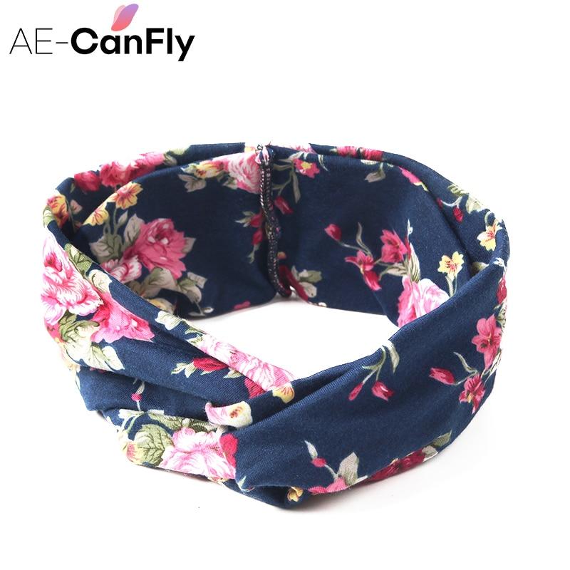 60% Rabatt verschiedene Farben amazon Mode Frauen Breite Turban Stirnband Bunten Blume Kreuz Elastische  Stirnbänder für Frauen HG144