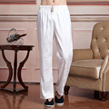 High Fashion White Chinese Men's Satin Kung Fu Tai Chi Trousers Spring Summer Loose Casual Trousers Size M L XL XXL XXXL 2519-1