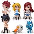 6 pçs/set Anime Cartoon de cauda Natsu cinza Lucy Erza figura de ação boneca brinquedos de presente