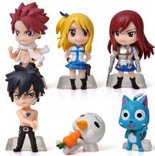 6Pcs Set Anime Cartoon Character Fairy Tail Natsu Gray Lucy Erza Figure Action Doll Toys Great