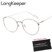 c0d2e2af30 LongKeeper 2017 gafas redondas Vintage moda clara de oro ronda marcos de anteojos  mujeres gafas óptico marco hombres de Metal