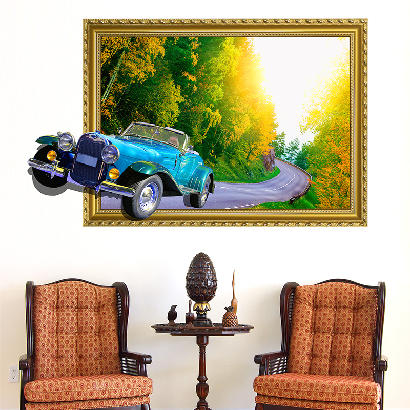 Vintage Cars 3D Wall Stickers PVC Material Decorative Jungles Road 3D Wall Poster for Living Room Sofa Background Decoration