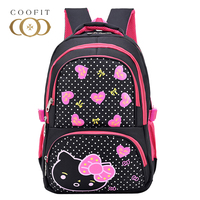 Coofit Cartoon Cat Backpack Schoolbag For Girls Teenagers Dots Nylon Bookbag Kids Love Heart Backpacks mochila escolar feminina