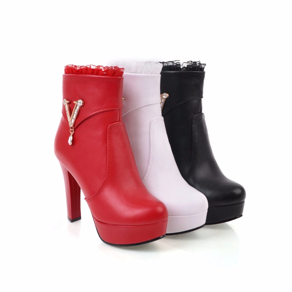 023e581b6 US $29.89 39% OFF|New women wedding shoes sexy Pointed Toe super high heels  short boots fashion Rhinestone crystals ankle boots Big size 32 43-in ...