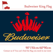 Free shipping Budweiser King Beers Flag Outdoor 3X5ft Polyester Banner Flying 150*90cm 60*90cm