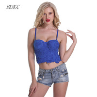 BKMGC New Short Floral Women Top 2017 Elegant Bralette Lace Up Solid Embroidery Camis Sexy Top