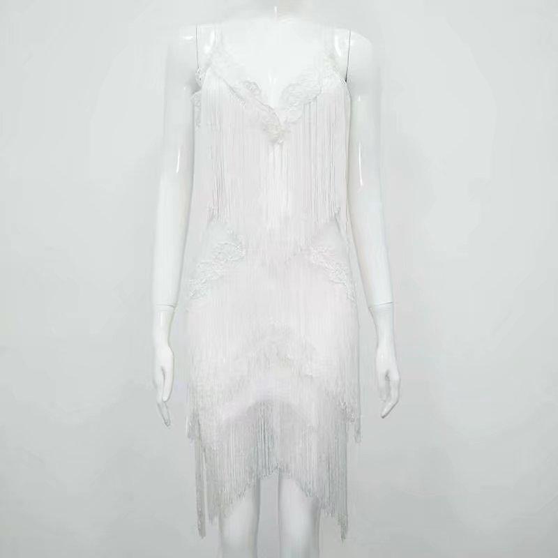 Bandage Mode Blanc blanc Élégante Noir Dentelle Sexy Moulante Femmes D'été L Cou Robes 49 Robe V Noir Celebrity Party Gland nWH4qv8Pw