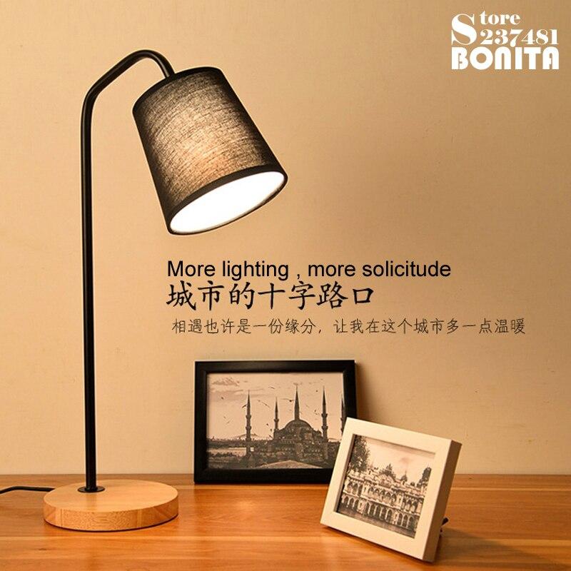 nordic quarto cabeceira desk lamp criativo americano levou olho protegido faculdade dormitorio reading lampadas madeira macica