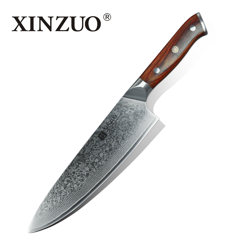 XINZUO 8 inches Damascus kitchen knives Gyuto knife high quality Japanese steel chef knife with rosewood
