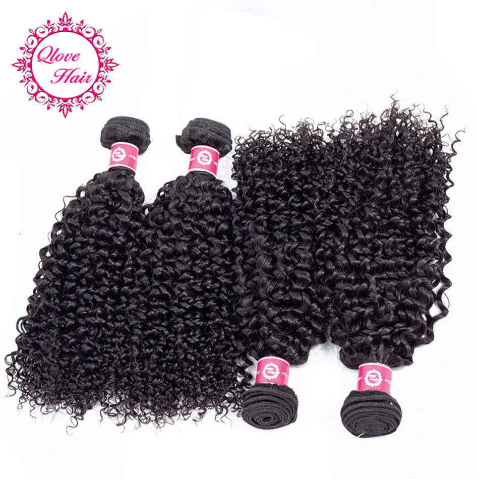 QLove Hair Pre-Colored Non Remy Natural Color Malaysian Bundles In Extension Hair 4 Bundles Kinky Curly 100% Human Hair Weave
