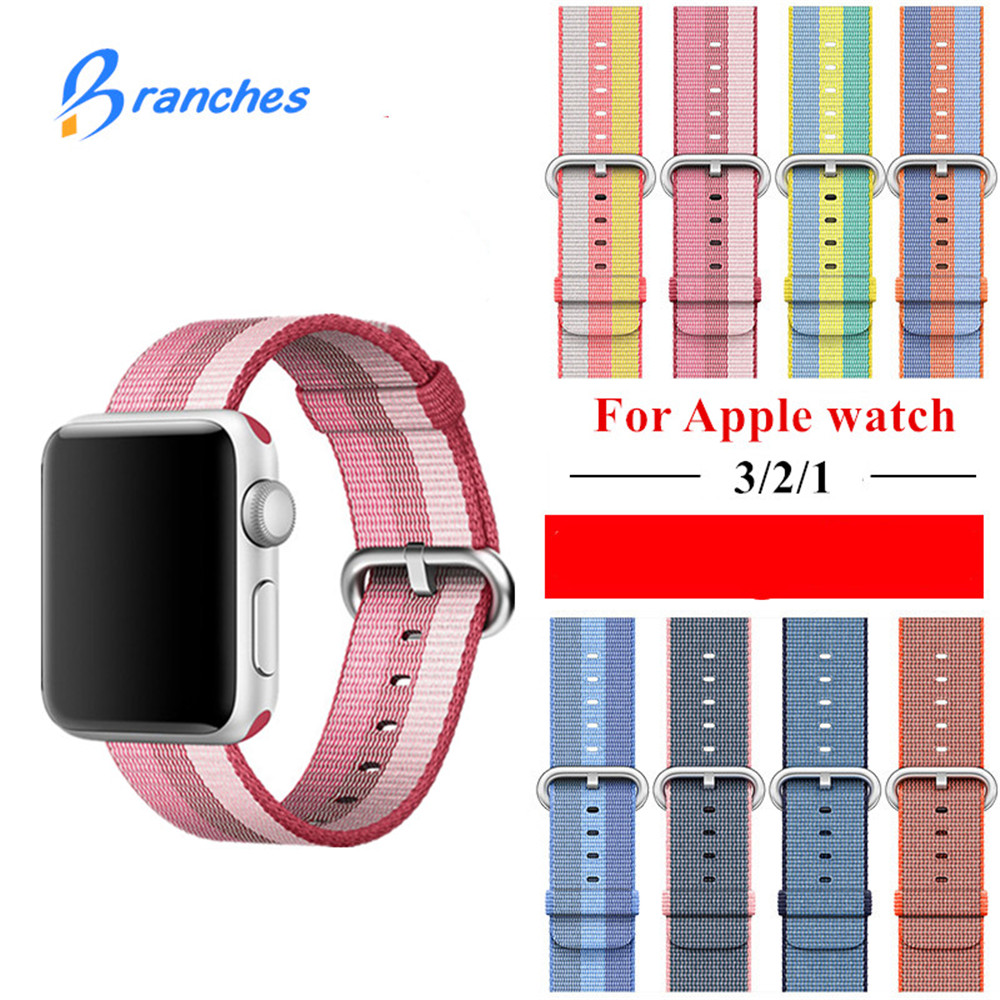 Woven Nylon strap band For Apple Watch 42mm 38mm bracelet belt fabric-like nylon watchband for iwatch 3/2/1/Edition Accessories mu sen woven nylon band strap for apple watch band 42mm 38 mm sport fabric nylon bracelet watchband for iwatch 3 2 1 black