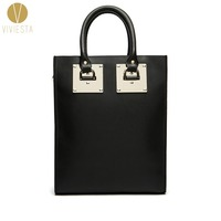 GENUINE LEATHER METAL PLATE LARGE STRUCTURED TOTE BAG Women S 2017 Fashion Famous Brand Luggage Shopping