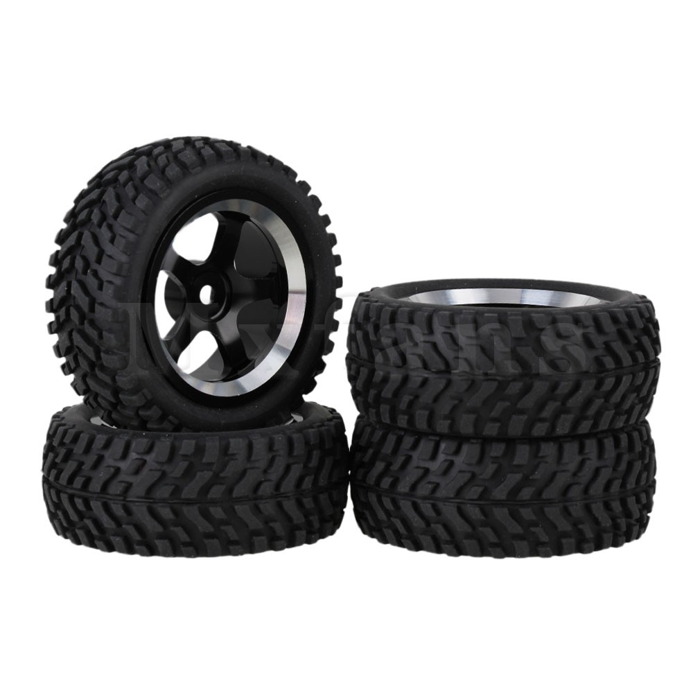 Mxfans 4 x RC 1:10 On Road Car Alloy 5-Spoke Wheel Rim & Beard Pattern Rubber Tyre mxfans 4 x rc1 10 rock crawler black alloy 7 spoke wheel rim simulation rubber tyre