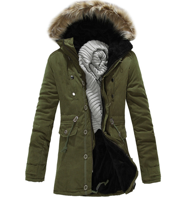 1deb33387 Men Coats Winter Fashion 2017 New Mens Warm Jacket With Fur Hood Thicken  Cotton Padded Overcoats Mens Long Parkas Outwears T283