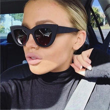 2018 New Cat Eye Women Sunglasses Tinted Color Lens Men Vintage Shaped Sun Glasses Female Eyewear Blue Sunglasses Brand Designer(China)