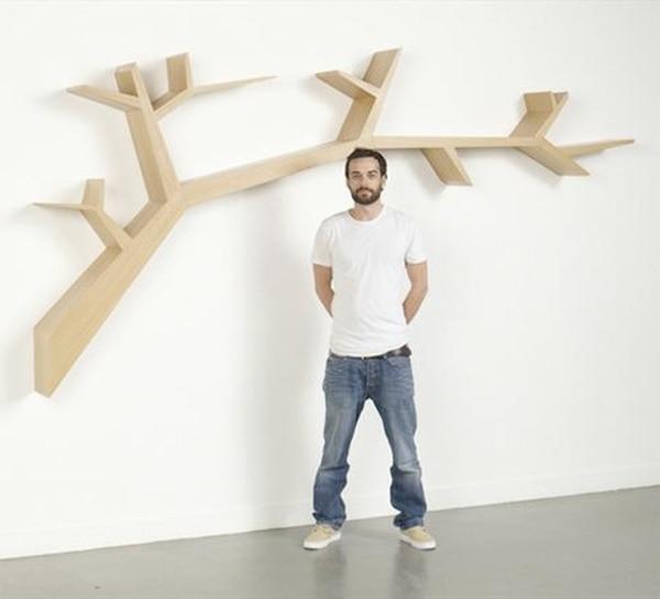 Bücherregal wand design  Einfache baum wand bücherregal regal kreative heimat TV sofa ...