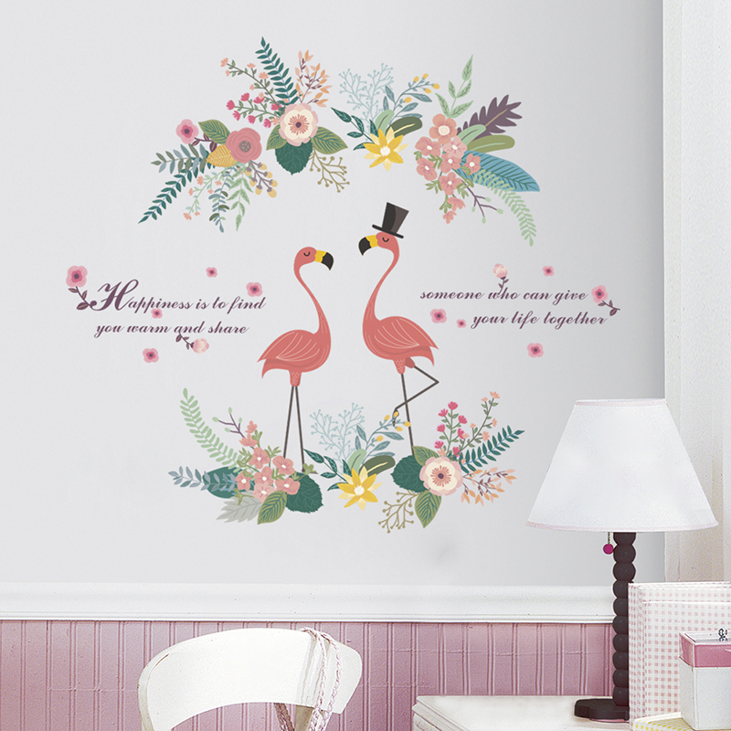 Ins Style Flamingo Flower Wall Stickers For Home Decor