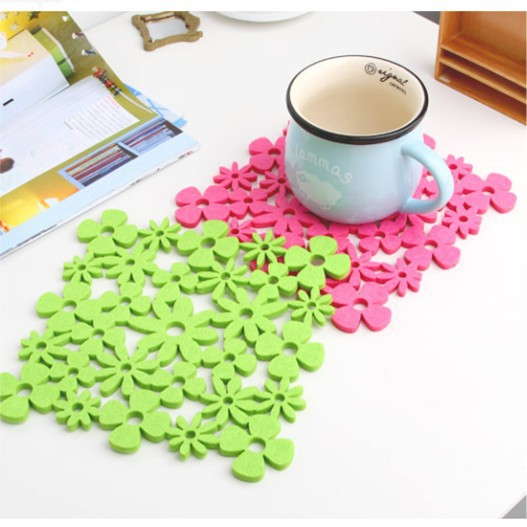 19.8*19.8cm Color Pierced Flower Felt Cloth Cup Pad Mat Insulation Non-slip Coffee Cup Coaster Bar Decor 30pcs/lot SH062