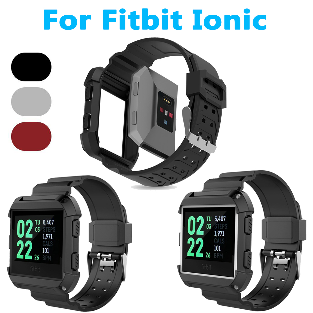 Silicone Sport Watch Band Strap For Fitbit Ionic Smart Watchband With Protective Case Replacement Bracelet Wristband