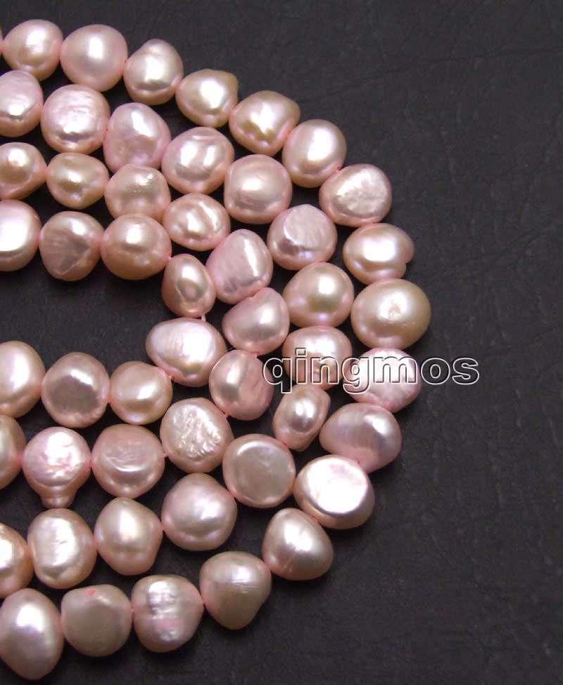 Big 8-9mm Light Pink Baroque Natural Freshwater Pearl Loose Beads Strand 14''-los738 Wholesale/retail Free ship