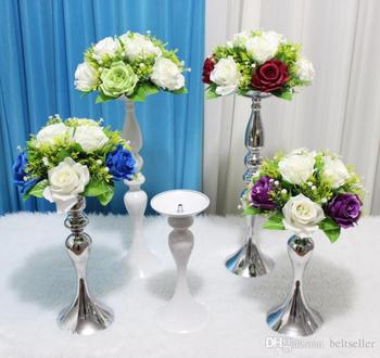 Wedding table decoration flower stands T-Stage road lead stainless steel columns metal flower vase table centerpiece many size