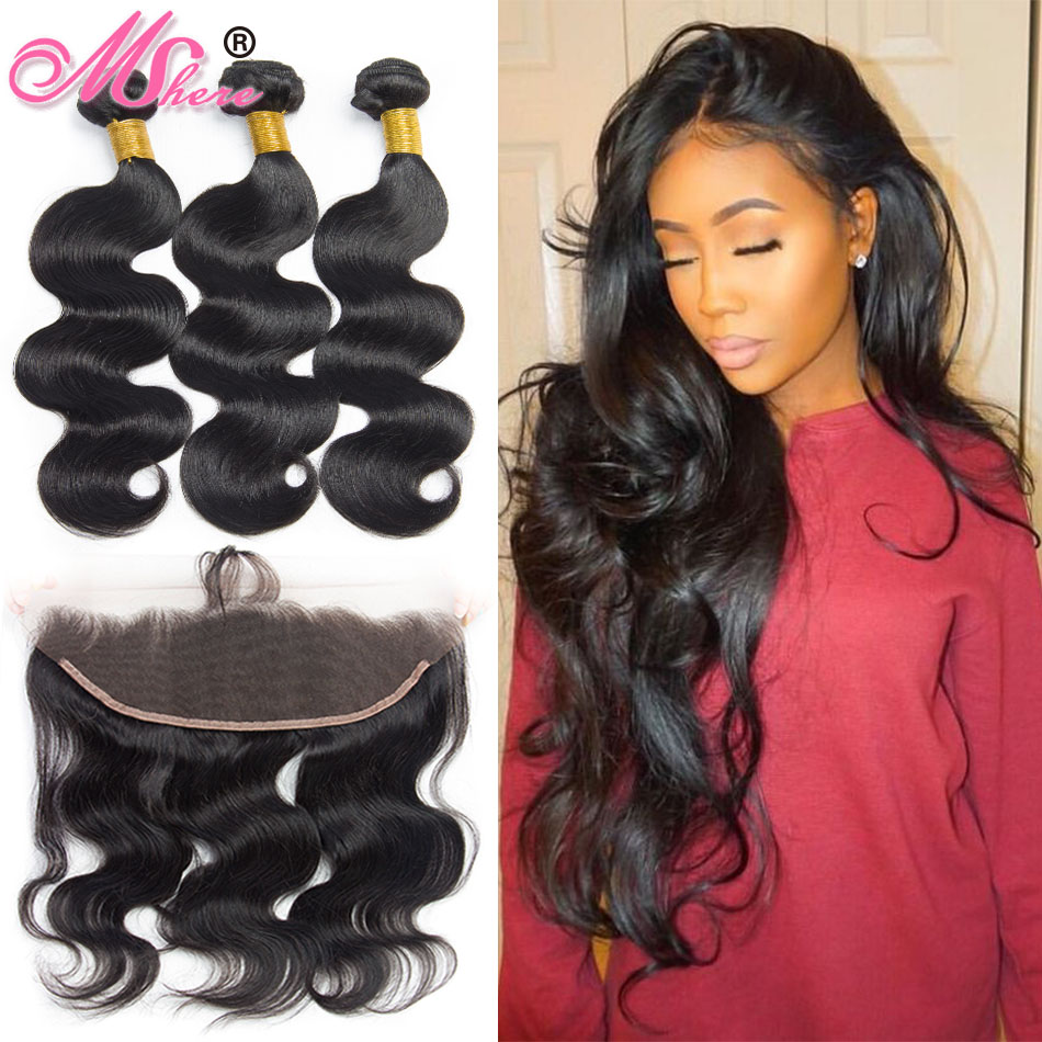 Human Hair Bundles With Closure Brazilian Body Wave Hair Weave Bundles Lace Frontal Closure With Bundles