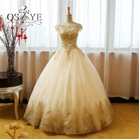 2017 New Arrival Vintage Saudi Arabia Evening Dresses Ball Gown Long Prom Dress Gold Lace Tulle Boat Neck Open Back Formal Gowns